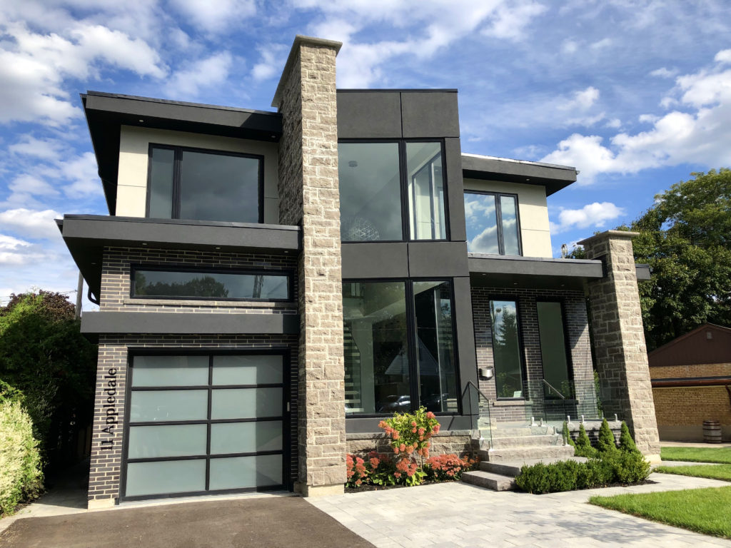 Renaissance Rail stainless steel and glass railings, spigot posts, on front entrance in Etobicoke, ON